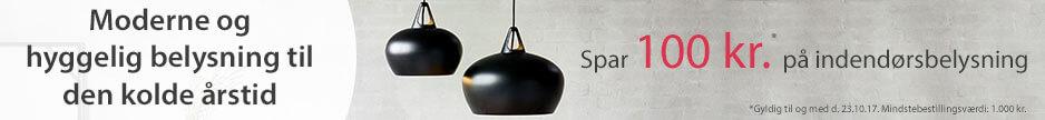 Spar 100 kr. på indendørslamper