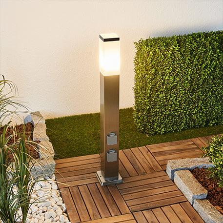 LED-vejlampe Luis af rustfrit stål med stikdåse