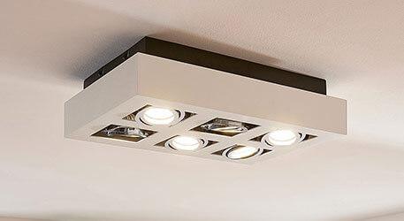 LED-loftslampen Vince i hvid, 6 lyskilder