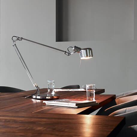 Skrivebordslampe Job, rustfrit stål med ægte glas