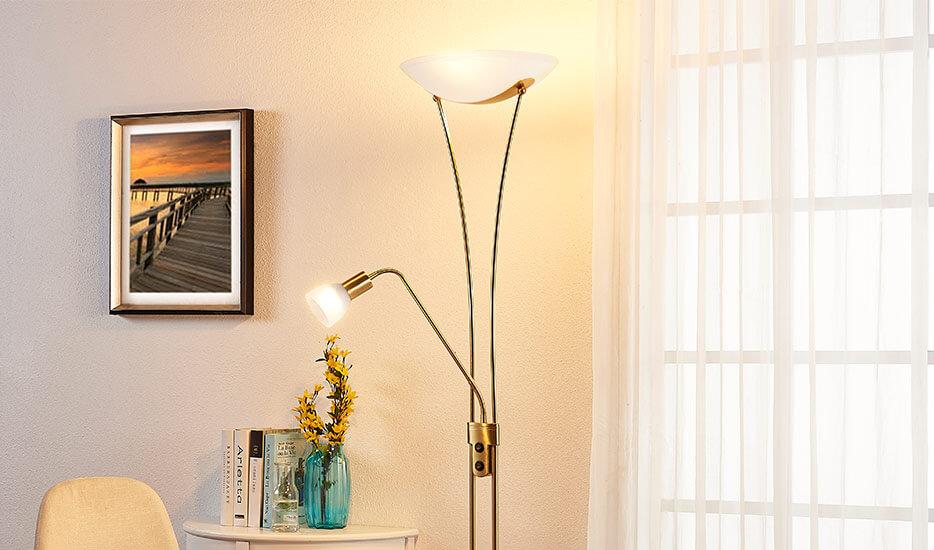 LED uplight lampe Felicia med læsearm - dæmpbar